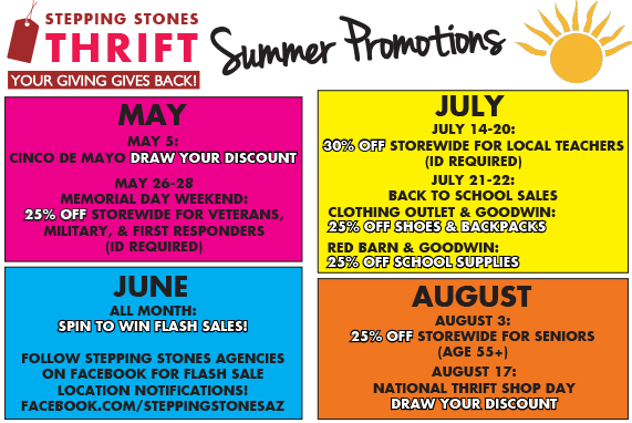 Stepping Stones Thrift Summer Promotions!