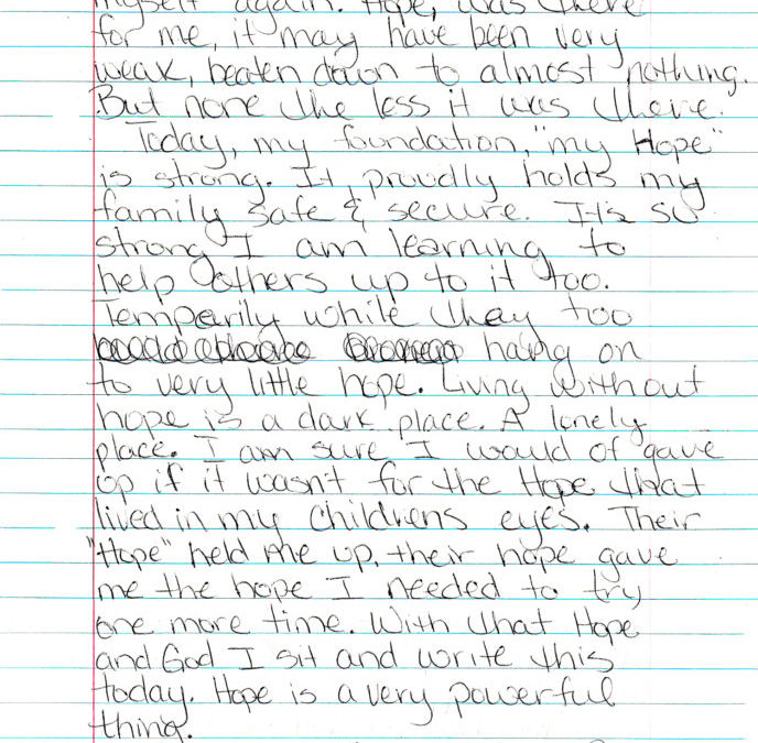 """LETTER FROM A RESIDENT: """"TODAY MY FOUNDATION, MY HOPE IS STRONG."""""""