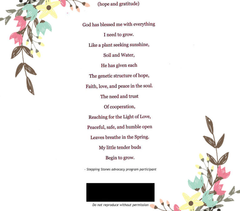 POEM FROM ADVOCACY PROGRAM: PEACEFUL, SAFE, AND OPEN