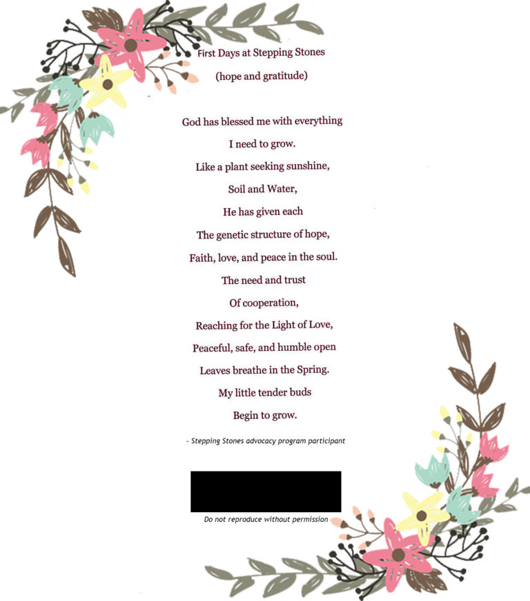 Poem From Advocacy Program Peaceful Safe And Open Stepping