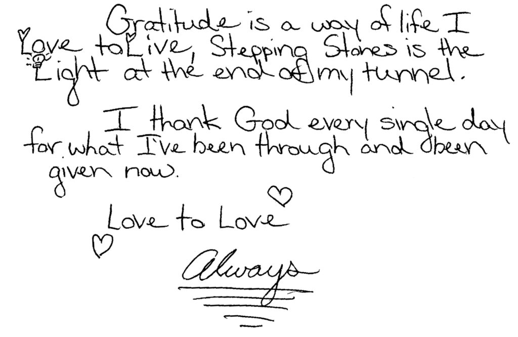 letter of gratitude from Stepping Stones program participant 2