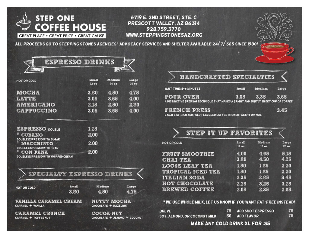 Step One Coffee House menu